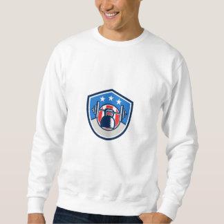 Kettlebell hängendes Barbell USA-Flaggen-Wappen Sweatshirt