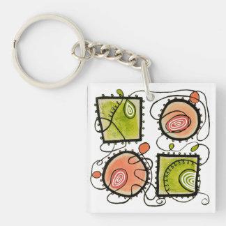 Keychain Quadrat - gelegentliche Gekritzel 2 Schlüsselanhänger