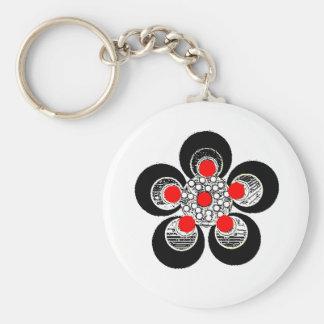 Keychain rote silberne Blume Schlüsselanhänger