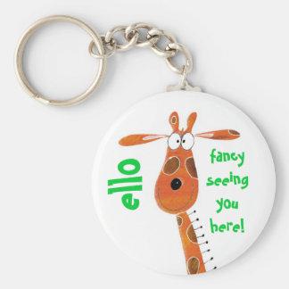 Keychain/Schlüsselring… Flippige Giraffe Standard Runder Schlüsselanhänger