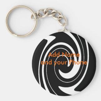 Keychain Schwarz-weißer Strudel addieren Namen und Schlüsselanhänger