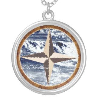 KFM Kompass-Halskette Halskette Mit Rundem Anhänger