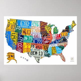Kfz-Kennzeichen-Karte der USA auf Weiß 2014 Poster