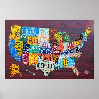 Kfz-Kennzeichen-Karte der Vereinigten Staaten Ed Poster