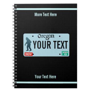 Kfz-Kennzeichen Oregons Sasquatch Spiral Notizblock