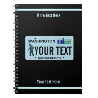 Kfz-Kennzeichen Washingtons Sasquatch Notizblock