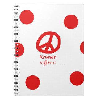 Khmer-Sprache und Friedenssymbol-Entwurf Notizblock