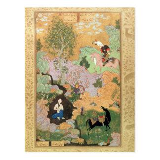 Khusrau sieht Shirin, in einem Strom zu baden Postkarte