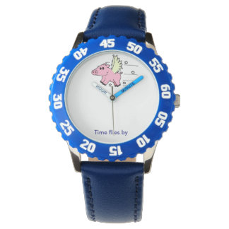 Kid's Watch Flying Pig - Blue Armbanduhr
