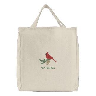 Kiefern-Kardinal Bestickte Einkaufstasche