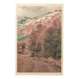 Kies-leere Straße - Parque Nacional Los Glaciares Holzdruck