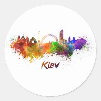 Kiew skyline im Watercolor Runder Aufkleber