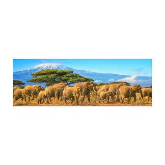 Kilimanjaro Tansania afrikanische Elefant-Safari Leinwanddruck