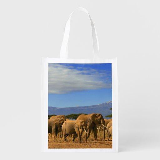 Kilimanjaro und Elefanten Wiederverwendbare Einkaufstaschen