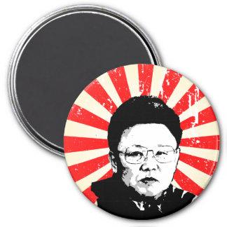 Kim Jong Il Runder Magnet 7,6 Cm