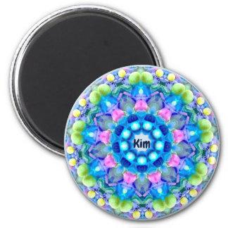 KIM ~ personalisiertes Ostern-Muster-Fraktal ~ Runder Magnet 5,7 Cm