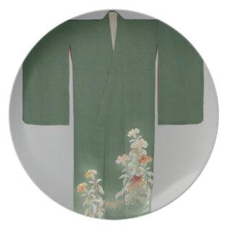 Kimono mit Cockscomb Blumen Teller