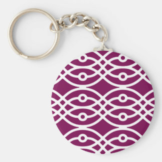 Kimonodruck, Aubergine lila und weiß Schlüsselanhänger