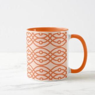 Kimonodruck, korallenrote Orange Tasse