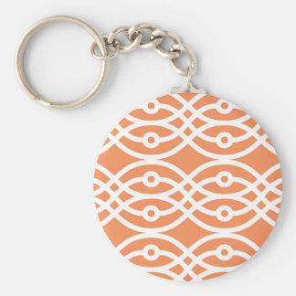 Kimonodruck, korallenrotes Orange und weiß Schlüsselanhänger