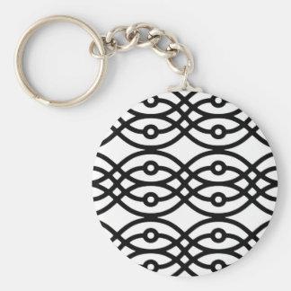 Kimonodruck, schwarz auf Weiß Schlüsselanhänger