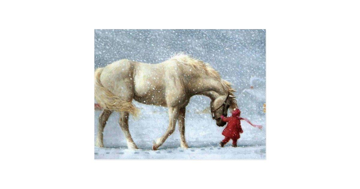 Kind, das ein Pferd im Schnee führt Postkarte | Zazzle