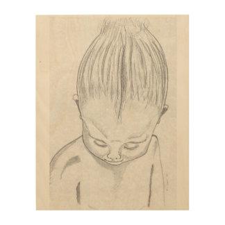 Kind im Bleistift Holzdruck