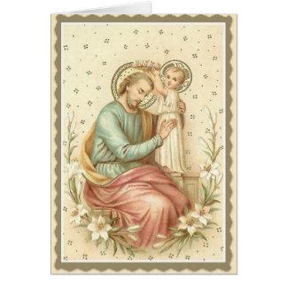 Kind Jesus krähender St Joseph Karte
