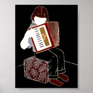 Kind mit Akkordeon Poster