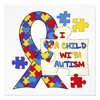 Kind mit Autismus-Bewusstseins-Band Individuelle Einladungskarten