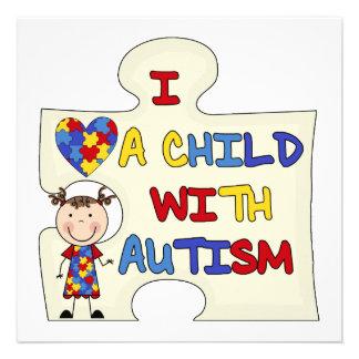 Kind mit Autismus-brünettem Mädchen 2 Ankündigungskarten