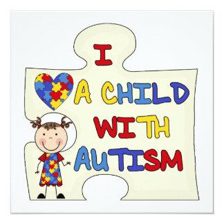 Kind mit Autismus-brünettem Mädchen 2 Quadratische 13,3 Cm Einladungskarte