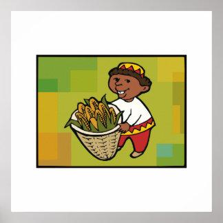 Kind mit Mais für Kwanzaa Posterdrucke