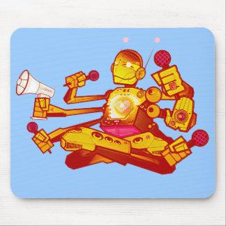 Kind über Roboter mousepad hinaus