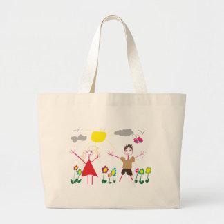 Kind zeichnen einkaufstasche