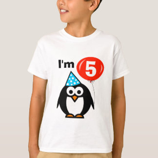 Kinder5. Geburtstags-Shirt mit Penguin-Cartoon T-Shirt