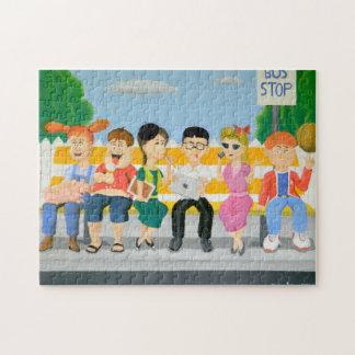 Kinder an der Bushaltestelle Puzzle