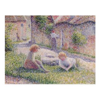Kinder auf Bauernhof-Impressionismus-Postkarte