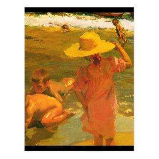 Kinder auf der Küste - Joaquín Sorolla Postkarte