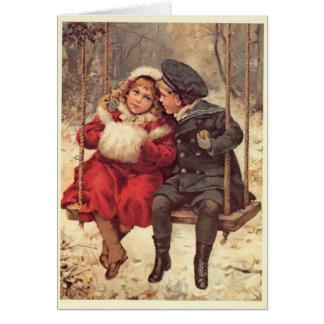 Kinder auf einem Schwingen-Weihnachten Karte