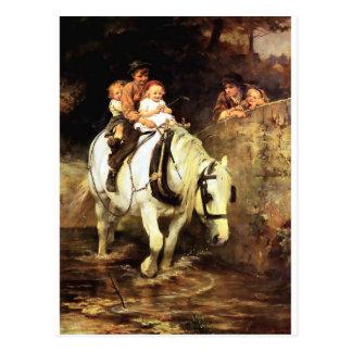 Kinder auf einer Pferdemalerei Postkarten