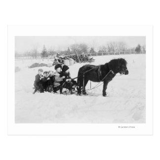 Kinder auf Pony gezeichneter Schlitten-Fotografie Postkarte