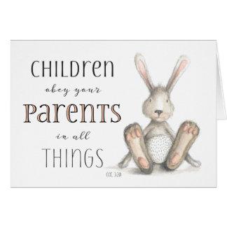 Kinder befolgen Ihr Elternteil-Col. 3:20 Karte