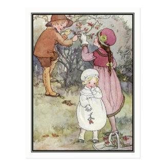 Kinder, die Beeren durch Anne Anderson sammeln Postkarte