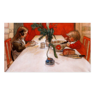 Kinder, die das Abendessen essen Visitenkarten