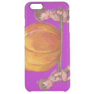 Kinder, die den Riesenkürbis lila tragen Durchsichtige iPhone 6 Plus Hülle