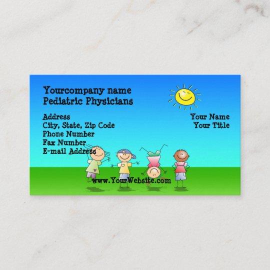 Kinder Die Draußen Sonniger Tagesvisitenkarten