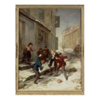 Kinder, die eine Ratte jagen Postkarte