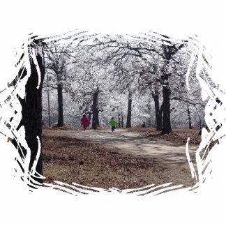 Kinder, die im Winter spielen Fotoskulptur Schlüsselanhänger