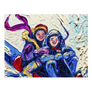 Kinder, die Malerei Sledding sind Postkarte
